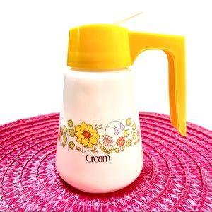 Vintage Gemco Milk Glass Spring Floral Creamer